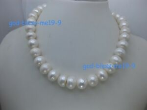 """12-13mm 20"""" Gorgeous AAA real natural south sea white pearl necklace 14k"""