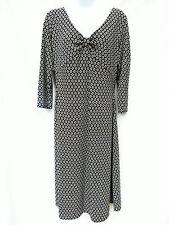 MICHAEL KORS Womens Black White Retro Mod Floral VNeck Stretch Jersey Dress 10 L