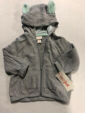 Cat and Jack baby boy lightweight hoodie ears zip up size 6-9 months NWT muslin