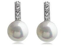 Elegant Silver Crystal & White Pearl Bridal Studs Earrings E317
