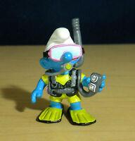 Smurfs 20466 Scuba Diver Smurf Frogman Rare Vintage Figure Toy Mask Snorkel PVC