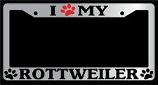 Chrome License Plate Frame I Heart My Rottweiler (Paw) Auto Accessory 550