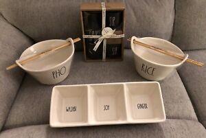 Rae Dunn wasabi soy Ginger Tray Rice Pho Bowls Sake Sip Lot Of 6 Items New Ivory
