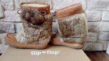 Flip Flop Boots Boho Mokassins Wildleder Lammwolle Fell warm Gr. 36