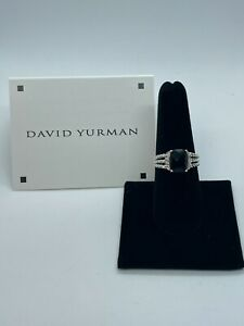 David Yurman Sterling Silver Petite Black Onyx & Diamond Wheaton Ring Size 5