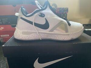 Nike PG 4 Basketball Shoes White Black Wolf Gray CK5828-100 Men's NEW Size 8.5