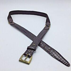 "Brown Moc Croc Cowhide Leather Mens Belt 34? 35? 36? Nylon Braid Gold Buckle 1"""