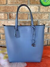 Coach Leather Central Shopper Tote Handbag Crossbody In Blue