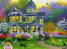 Cat kittens dogs raccoon victorian rescue house evening OE aceo print art