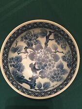 """Blue And White Floral Hand Painted Collectible Bowl From Japan 6"""" Diameter"""
