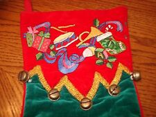 "2- Velour Christmas Stockings  Embroidered Drum Horn / Brass Bells 18""x 7"" MINT"