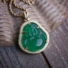 Hip Hop Green Jade Buddha Pendant Necklace Iced With Lab Diamonds