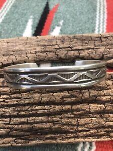 Bruce Morgan Navajo Native American Heavy Sterling Silver Cuff Bracelet 7 signed