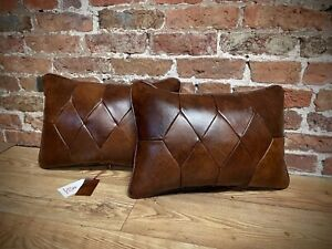 """Chesterfield Leather & Harris Tweed Cushions 20"""" X 14"""""""