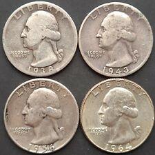 USA Silver Quarter Dollar 4 Coins Various Dates