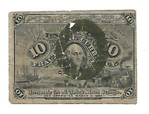 US - 10 Cent Fractional Note - Series 2 - 1863 - w/damage