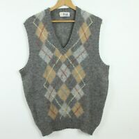HOLES FLAW Vintage Pringle Scotland Wool V Neck Pullover Vest Grey Argyle L XL