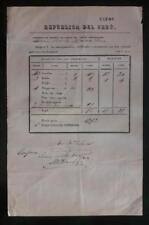 PERU official postal stampless document at Arica 1853 ship to Lima via VAPOR!