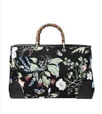 5861201486a330 NWT Gucci Kris Knight Canvas Floral Bamboo Tote Bag Purse Handbag Large  Flora