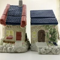 2 Ceramic House Set Cracker Barrel  Cookie Jars Cottage Flowers
