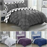 100% COTTON  PINTUCK DUVET COVER BEDDING SET DOUBLE SUPER KING SIZE QUILT COVERS
