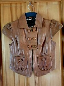 """RIVER ISLAND Tan Brown Soft Real Leather Cap Sleeve Jacket Size:12 - Chest 36"""""""