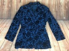 Laura Ashley Women's Blue Floral Pattern Velvet Silk Jacket Blazer 10 36