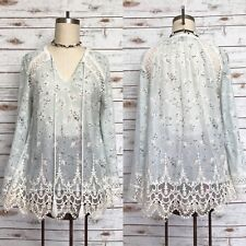 GREYLIN Embroidered Lace Mesh Overlay Tunic Top Floral Tassel Size Small S