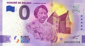 37 DESCARTES Honoré de Balzac, 2021, Anniversaire, Billet Euro Souvenir