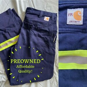 CARHARTT 42x30 • 63685-20 FR Flame Resistant Navy REFLECTIVE Safety Work Pants