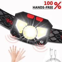 800Lm Motion Sensor LED Headlamp Headlight USB Rechargeable Head Lamp Torch De