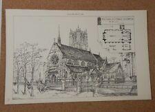 Antique Architects print St Edmunds church Southampton The Builder 1889