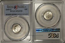 2008 P Roosevelt Dime 10c PCGS SP69FB Full Bands Satin Finish