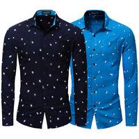 Luxury Men's Casual Dress Shirts Slim Fit T-Shirt Long Sleeve Floral Shirts Tops