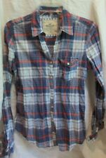 HOLLISTER NAVY BLUE RED WHITE PLAID SHIRT BUTTON FRONT M
