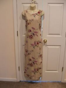 NWT Casual Corner Annex sleeveless  beige floral maxi dress size 6