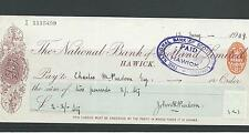 wbc. - CHEQUE - CH121 - USED -1900s - NATIONAL BANK of SCOTLAND, HAWICK