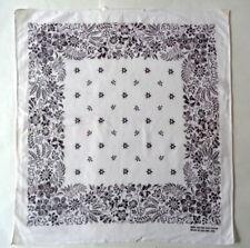 Vintage Wpl 209 Fast Color Handkerchief Bandana Black White Floral Border Scarf