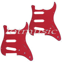 2 Pickguard for Electric Guitar Fender Stratocaster Strat Red 3 Ply 11 Hole SSS