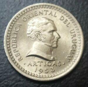 1953 URUGUAY 1 CENTESIMO OLD VINTAGE WORLD SMALL COIN