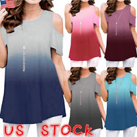 Womens Casual Cold Shoulder Summer Short Sleeve T Shirt Ladies Loose Tops Blouse