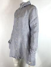 Shirt CP Shades Moira Tunic Dress Button Up Long Sleeve Blue Stripe Linen sz M