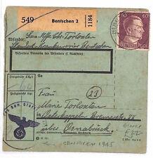 AR124 1945 WW2 GERMANY *Bentschen* Parcel Post Receipt UNUSUAL WITH CENSOR