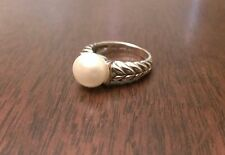 ANTIQUED STERLING SILVER & 14K GOLD 10mm FRESHWATER PEARL RING -  SIZE 7