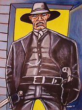 WESTWORLD PAINTING man in black ed harris hbo sci-fi western cowboy hat pistol
