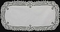 "Creative Linens White Battenburg Lace Table Runner 16x34"" Oval Cotton Handmade"