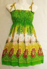 Women Smock Short Mini Dress Flower Ladies Boho Hippy Summer Beach Party DS2