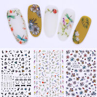 3D Nail Stickers Flower Insect Cute Panda Floral  Nails Transfer Decals
