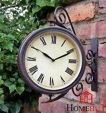 Reloj de estación de pared jardín ornamento termómetro Soporte gira sobre un eje de doble cara