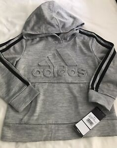Adidas Kids Boy's Athletic Fleece Lined Pullover Hoodie Grey 4 Years NWT